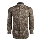 Camo Long Sleeve Performance Fishing Shirt-Golden Lion Head