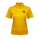 Ladies Gold Dry Mesh Polo-Golden Lion Head