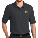 Charcoal Easycare Pique Polo-Golden Lion Head