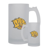 Full Color Decorative Frosted Glass Mug 16oz-Golden Lion Head