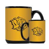 Full Color Black Mug 15oz-Golden Lion Head
