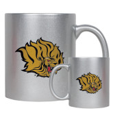 11oz Silver Metallic Ceramic Mug-Golden Lion Head