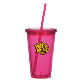 Madison Double Wall Pink Tumbler w/Straw 16oz-Golden Lion Head