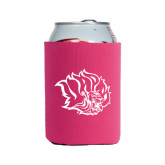 Collapsible Hot Pink Can Holder-Golden Lion Head