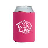 Neoprene Hot Pink Can Holder-Golden Lion Head