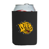 Neoprene Black Can Holder-Golden Lion Head