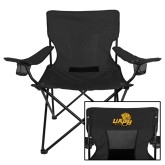 Deluxe Black Captains Chair-UAPB Lion Head Stacked