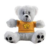 Plush Big Paw 8 1/2 inch White Bear w/Gold Shirt-Golden Lion Head
