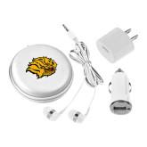 3 in 1 White Audio Travel Kit-Golden Lion Head