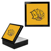 Ebony Black Accessory Box With 6 x 6 Tile-Golden Lion Head