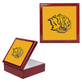 Red Mahogany Accessory Box With 6 x 6 Tile-Golden Lion Head