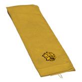 Gold Golf Towel-Golden Lion Head