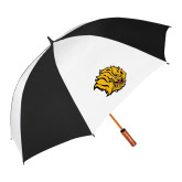62 Inch Black/White Umbrella-Golden Lion Head