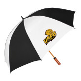 62 Inch Black/White Umbrella-UAPB Lion Head Stacked