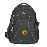 High Sierra Swerve Black Compu Backpack-Golden Lion Head