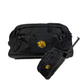Urban Passage Wheeled Black Duffel-Golden Lion Head