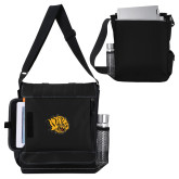 Impact Vertical Black Computer Messenger Bag-Golden Lion Head