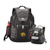 High Sierra Big Wig Black Compu Backpack-Golden Lion Head