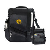 Momentum Black Computer Messenger Bag-Golden Lion Head