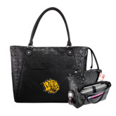 Sophia Checkpoint Friendly Black Compu Tote-Golden Lion Head