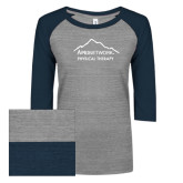 ENZA Ladies Athletic Heather/Navy Vintage Triblend Baseball Tee-Physical Therapy