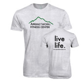 Next Level Heather White Tri Blend Crew-Fitness Center