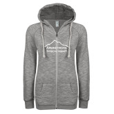 ENZA Ladies Grey/Black Marled Full Zip Hoodie-Physical Therapy