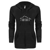ENZA Ladies Black Light Weight Fleece Full Zip Hoodie-Fitness Center