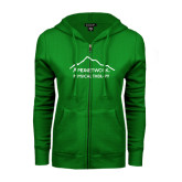 ENZA Ladies Kelly Green Fleece Full Zip Hoodie-Physical Therapy
