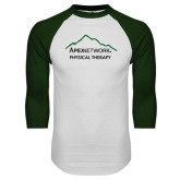 White/Dark Green Raglan Baseball T-Shirt-Physical Therapy