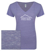 ENZA Ladies Surfer Blue Melange V Neck Tee-Physical Therapy