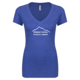Next Level Ladies Vintage Royal Tri Blend V-Neck Tee-Physical Therapy