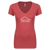 Next Level Ladies Vintage Red Tri Blend V-Neck Tee-Physical Therapy