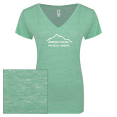 ENZA Ladies Seaglass Melange V Neck Tee-Physical Therapy