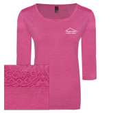 Ladies Dark Fuchsia Heather Tri Blend Lace 3/4 Sleeve Tee-Physical Therapy