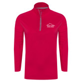 Ladies Pink Raspberry Sport Wick Textured 1/4 Zip Pullover-Physical Therapy