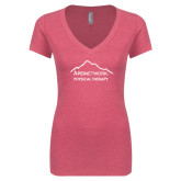 Next Level Ladies Vintage Pink Tri Blend V-Neck Tee-Physical Therapy