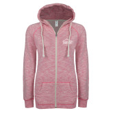 ENZA Ladies Hot Pink Marled Full Zip Hoodie-Fitness Center