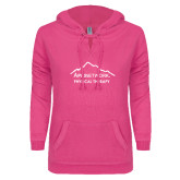 ENZA Ladies Hot Pink V Notch Raw Edge Fleece Hoodie-Physical Therapy