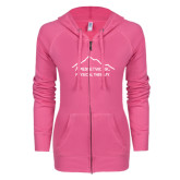 ENZA Ladies Hot Pink Light Weight Fleece Full Zip Hoodie-Physical Therapy