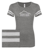 ENZA Ladies Dark Heather/White Vintage Triblend Football Tee-Physical Therapy