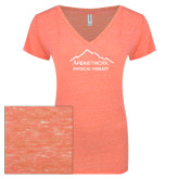 ENZA Ladies Coral Melange V Neck Tee-Physical Therapy