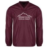 V Neck Maroon Raglan Windshirt-Physical Therapy