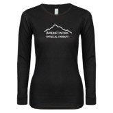 Ladies Black Long Sleeve V Neck Tee-Physical Therapy