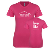 Ladies SoftStyle Junior Fitted Fuchsia Tee-Fitness Center