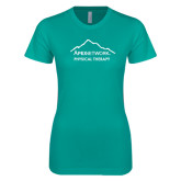 Next Level Ladies SoftStyle Junior Fitted Tahiti Blue Tee-Physical Therapy