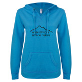 ENZA Ladies Pacific Blue V Notch Raw Edge Fleece Hoodie-Physical Therapy