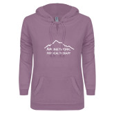 ENZA Ladies Hot Violet V Notch Raw Edge Fleece Hoodie-Physical Therapy