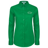 Ladies Kelly Green Twill Button Down Long Sleeve-Physical Therapy