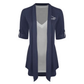 Ladies Navy Drape Front Cardigan-Physical Therapy
